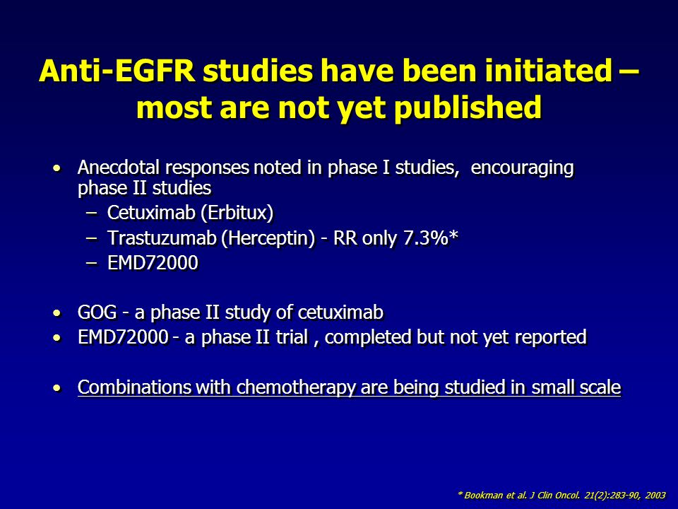 Anti-EGFR studies have been initiated – most are not yet published