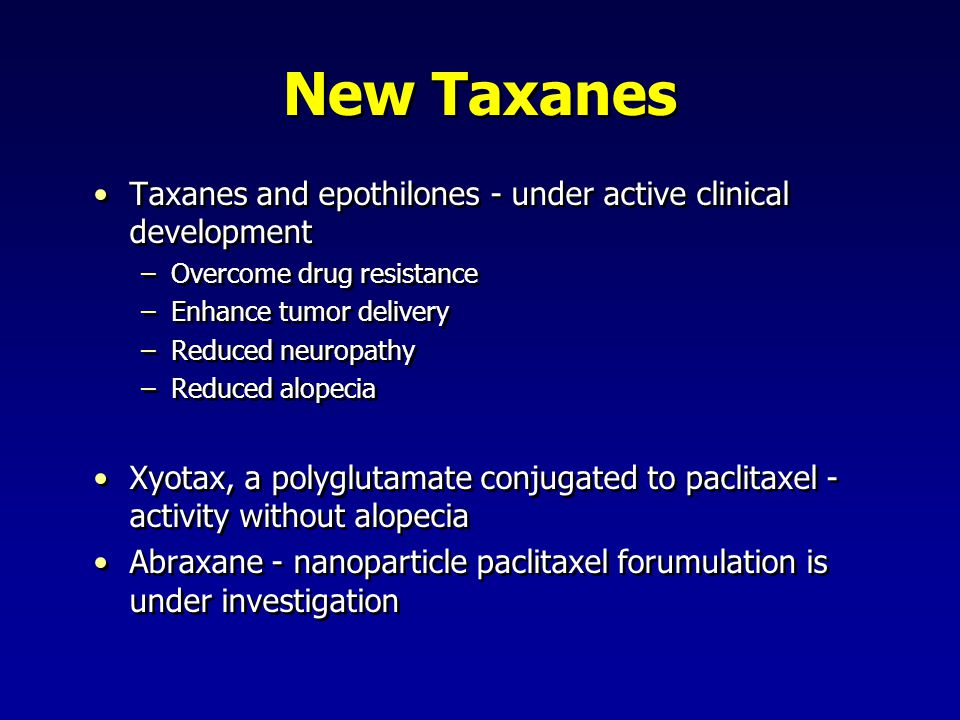 New Taxanes Taxanes and epothilones - under active clinical development. Overcome drug resistance.