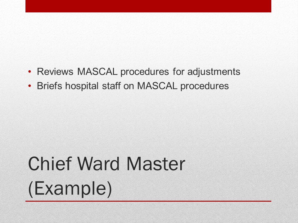 Chief Ward Master (Example)
