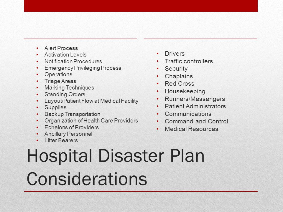 Hospital Disaster Plan Considerations