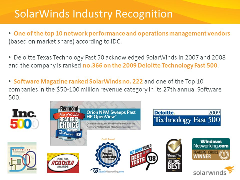 SolarWinds Industry Recognition