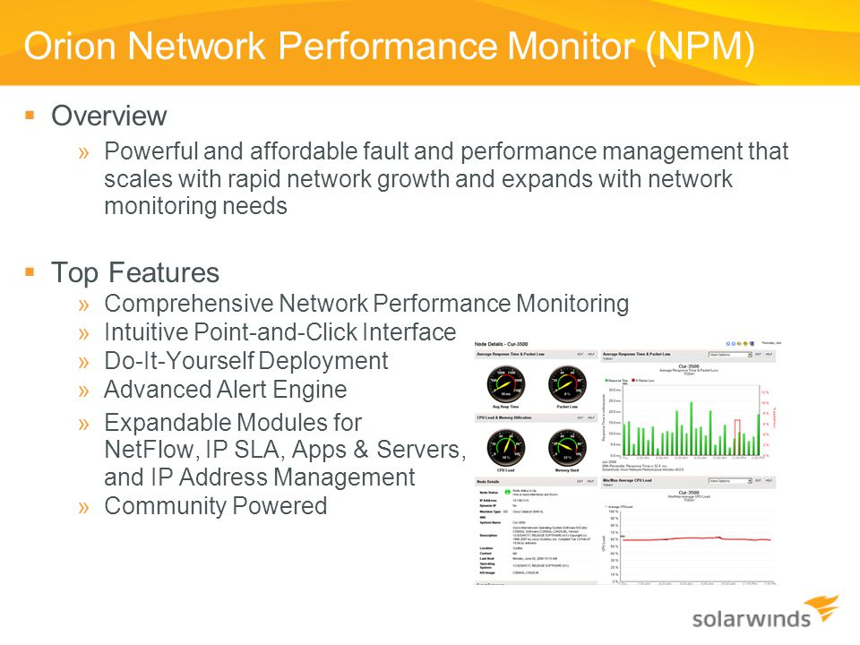 Orion Network Performance Monitor (NPM)