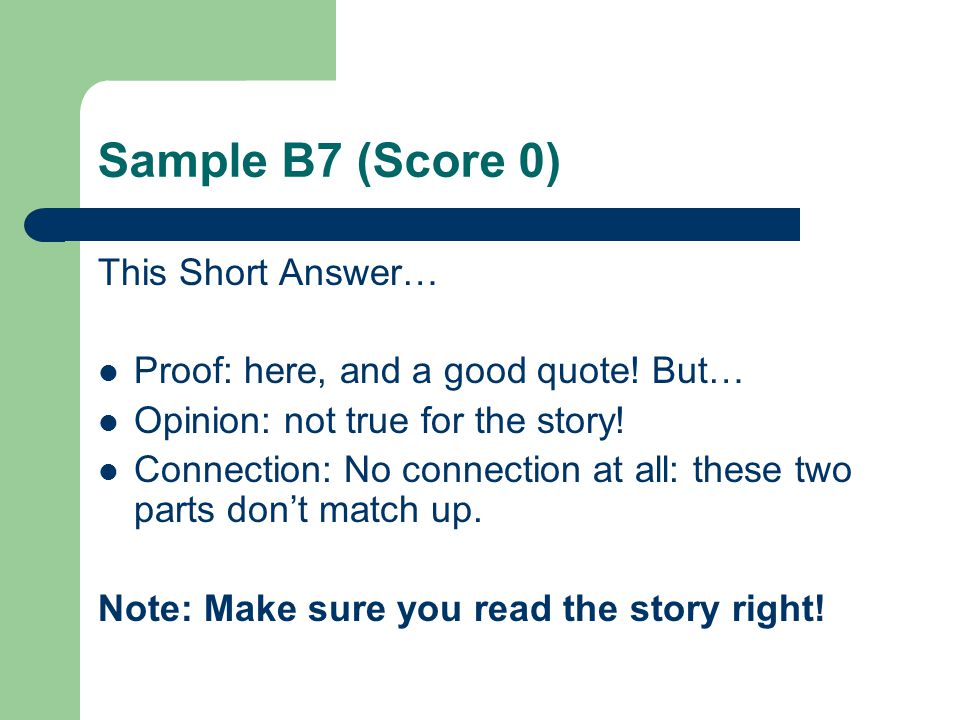 Sample B7 (Score 0) This Short Answer…