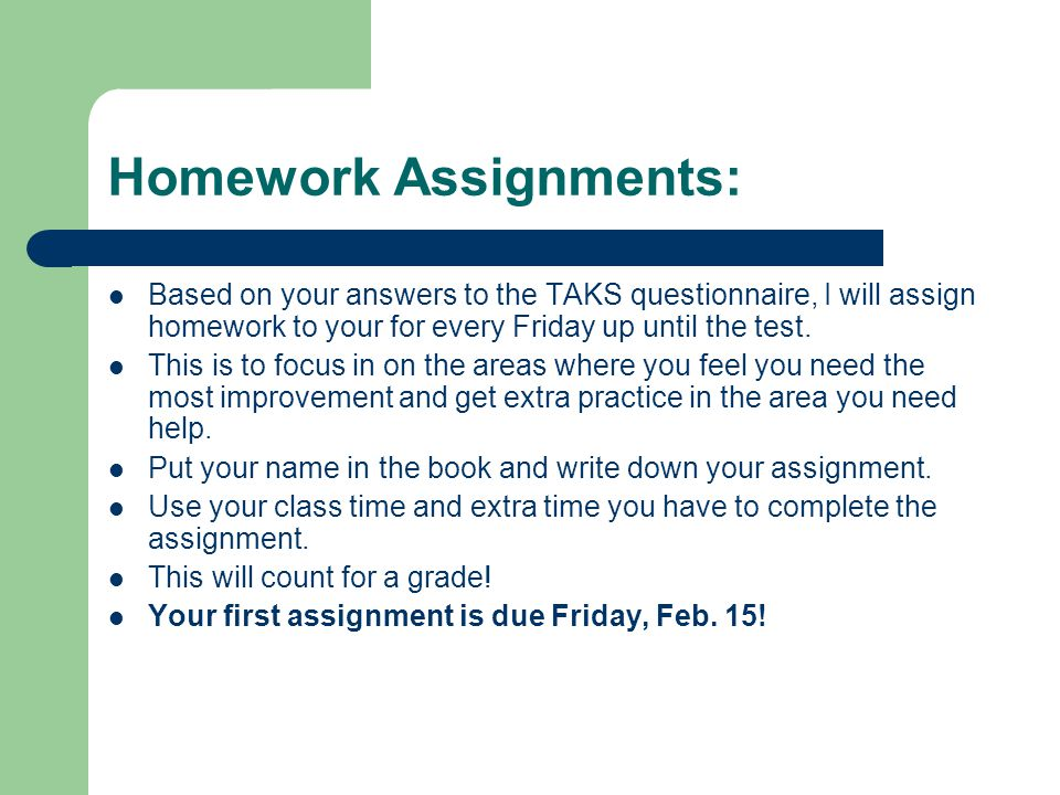 Homework Assignments: