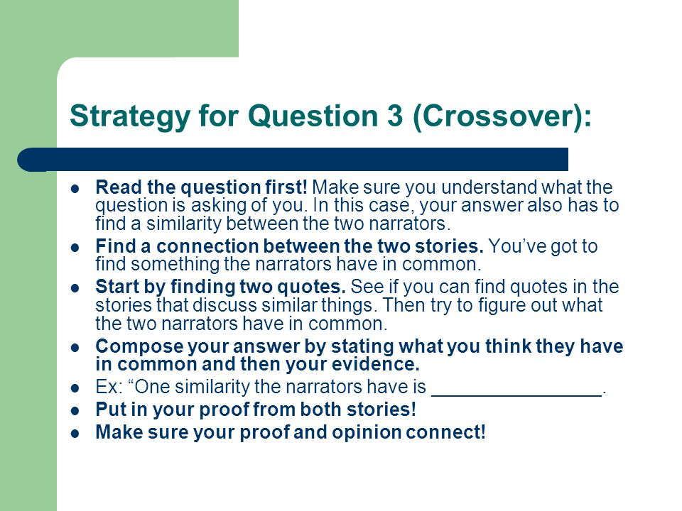 Strategy for Question 3 (Crossover):