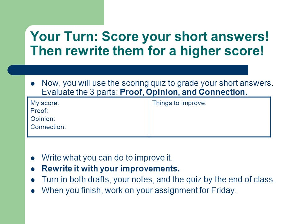 Your Turn: Score your short answers