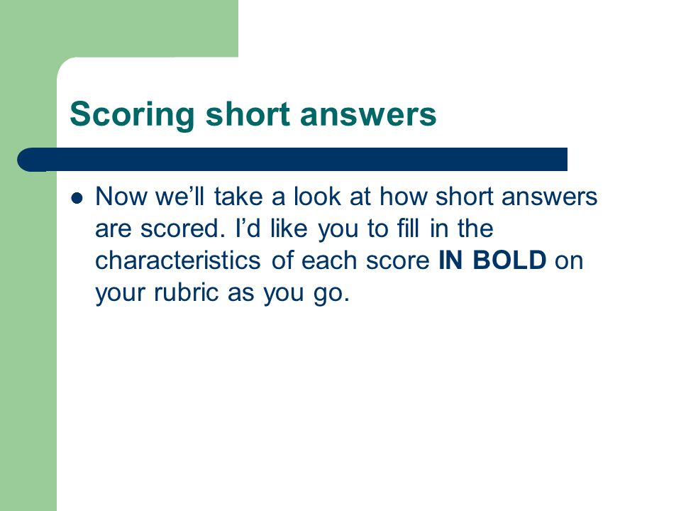 Scoring short answers