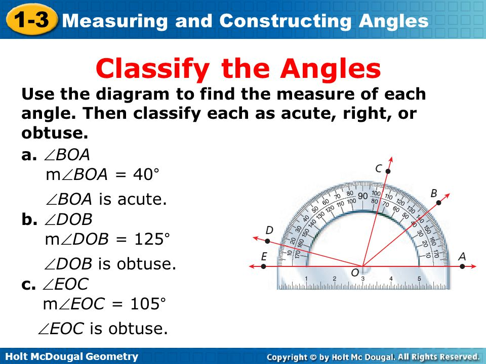 Classify the Angles Use the diagram to find the measure of each angle. Then classify each as acute, right, or obtuse.
