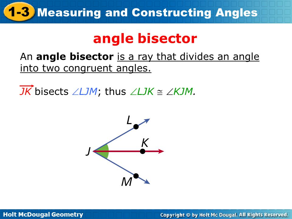 angle bisector An angle bisector is a ray that divides an angle into two congruent angles.