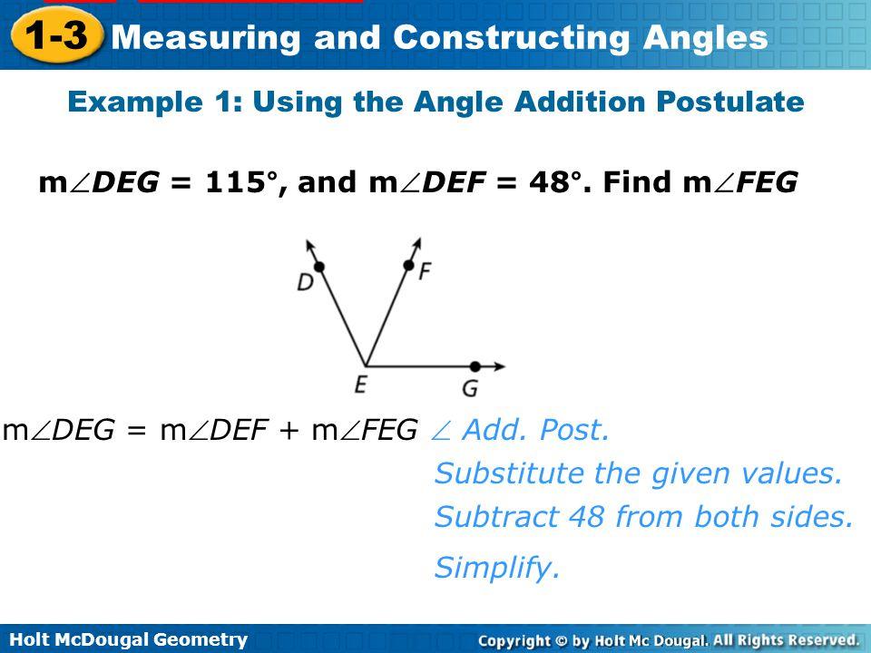 Example 1: Using the Angle Addition Postulate