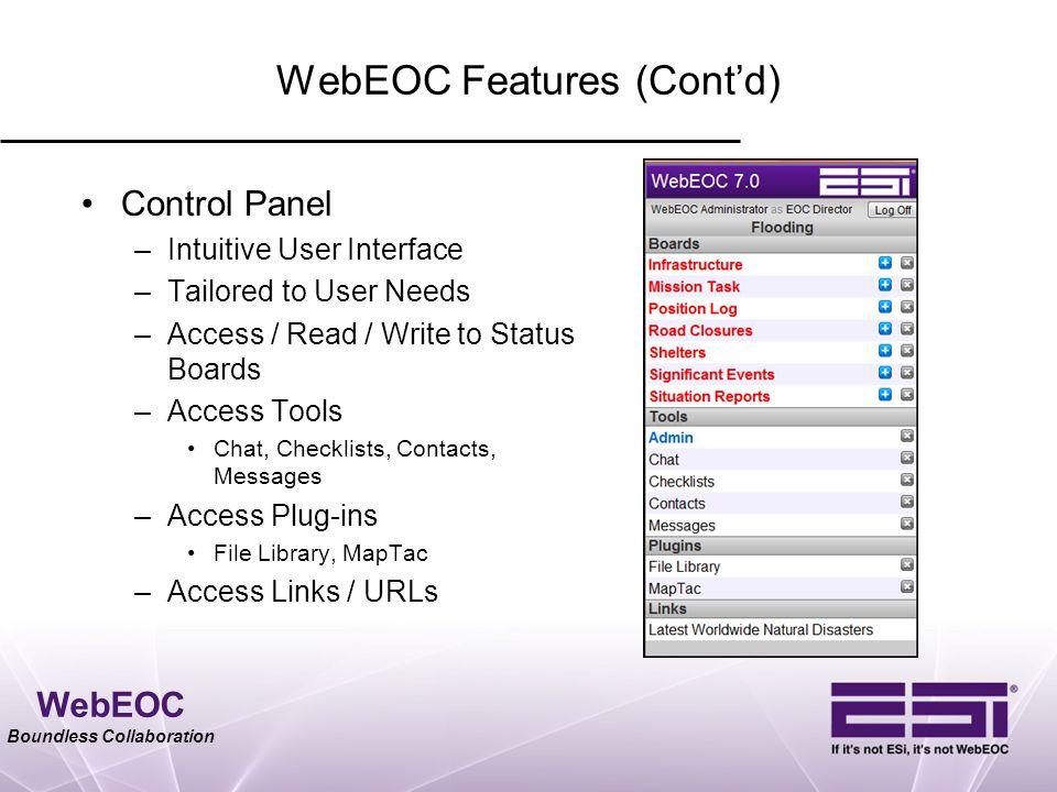 WebEOC Features (Cont'd)