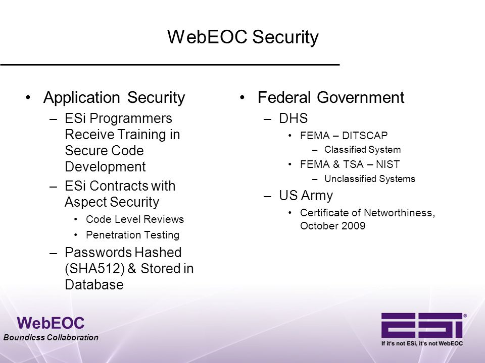 WebEOC Security Application Security Federal Government