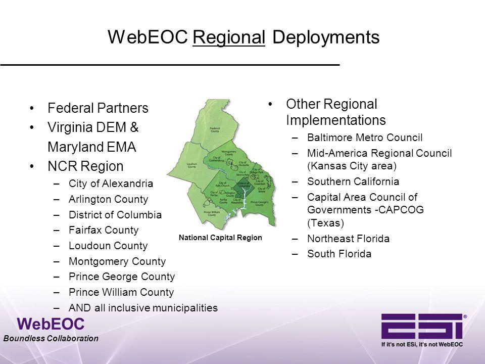 WebEOC Regional Deployments