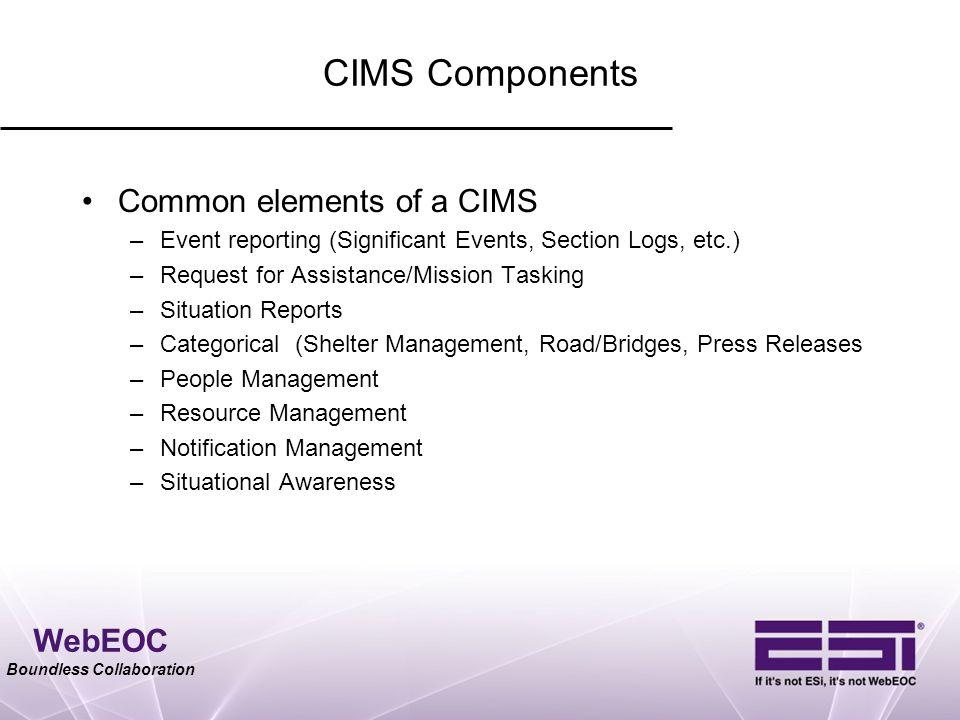 CIMS Components Common elements of a CIMS