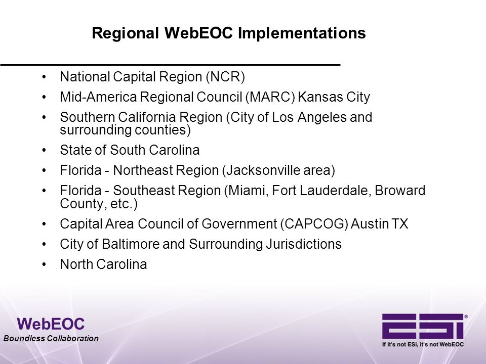 Regional WebEOC Implementations