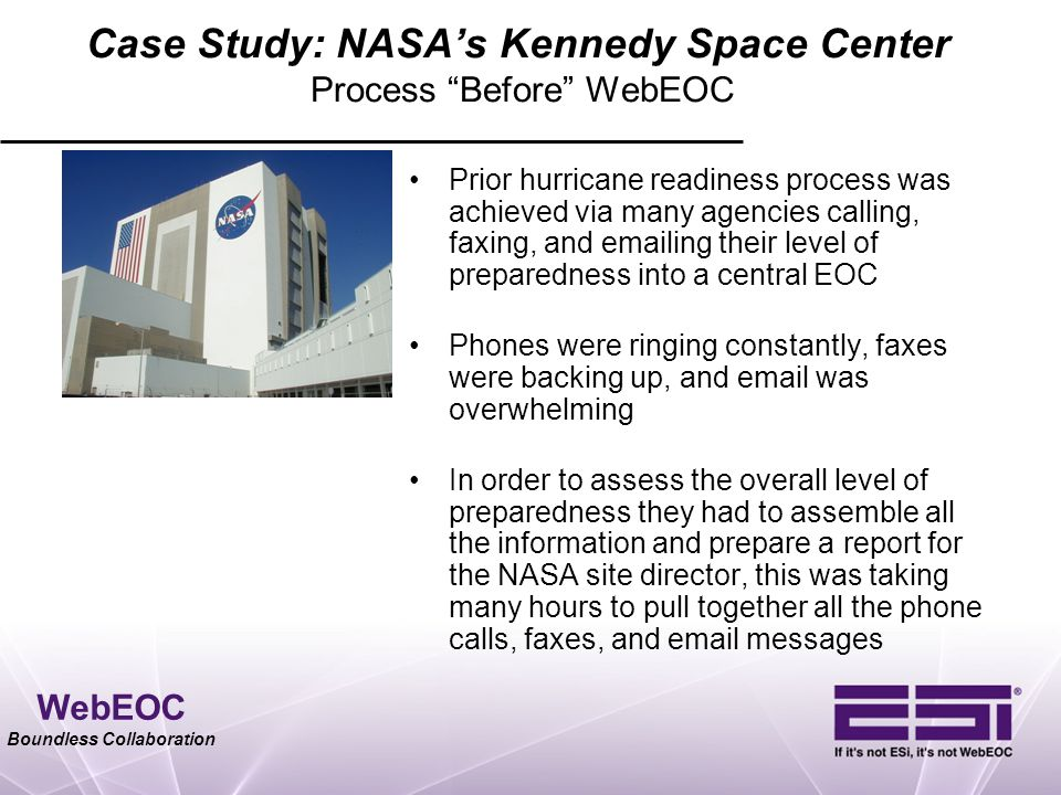 Case Study: NASA's Kennedy Space Center Process Before WebEOC