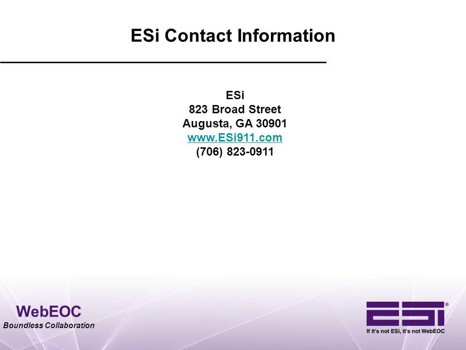 ESi Contact Information ESi. 823 Broad Street. Augusta, GA 30901. www.ESi911.com. (706) 823-0911.