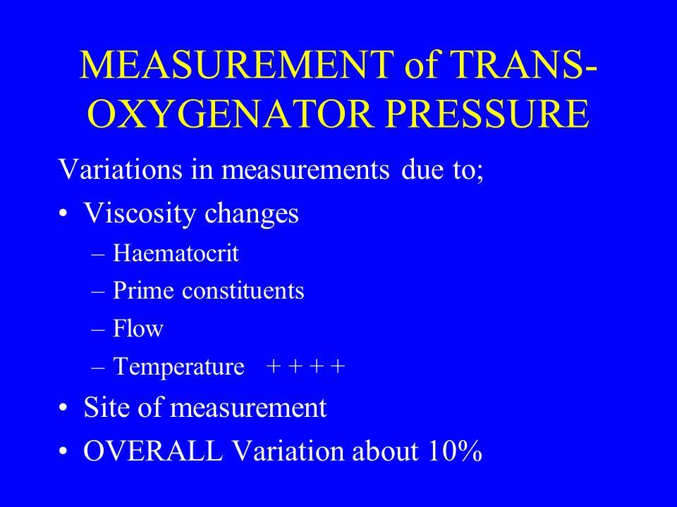 MEASUREMENT of TRANS-OXYGENATOR PRESSURE