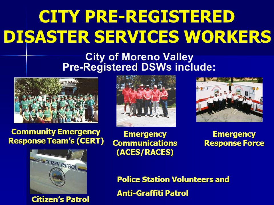 CITY PRE-REGISTERED DISASTER SERVICES WORKERS