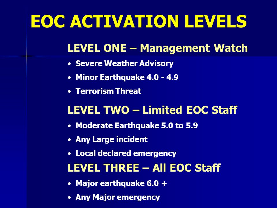 EOC ACTIVATION LEVELS LEVEL ONE – Management Watch