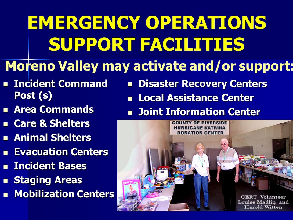 EMERGENCY OPERATIONS SUPPORT FACILITIES