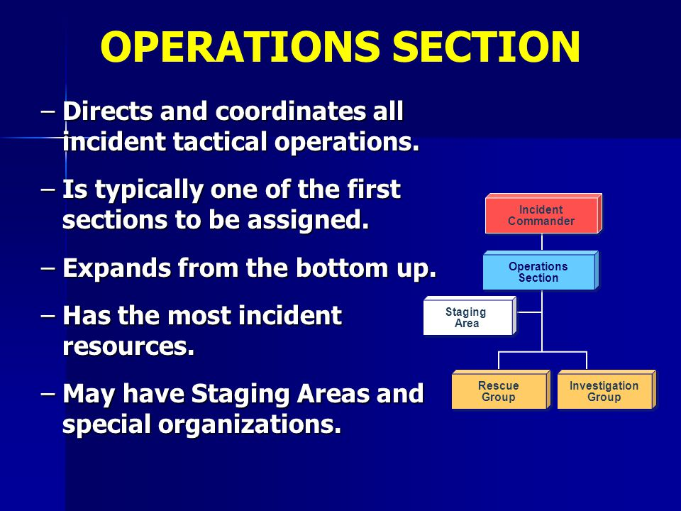 OPERATIONS SECTION Directs and coordinates all incident tactical operations. Is typically one of the first sections to be assigned.