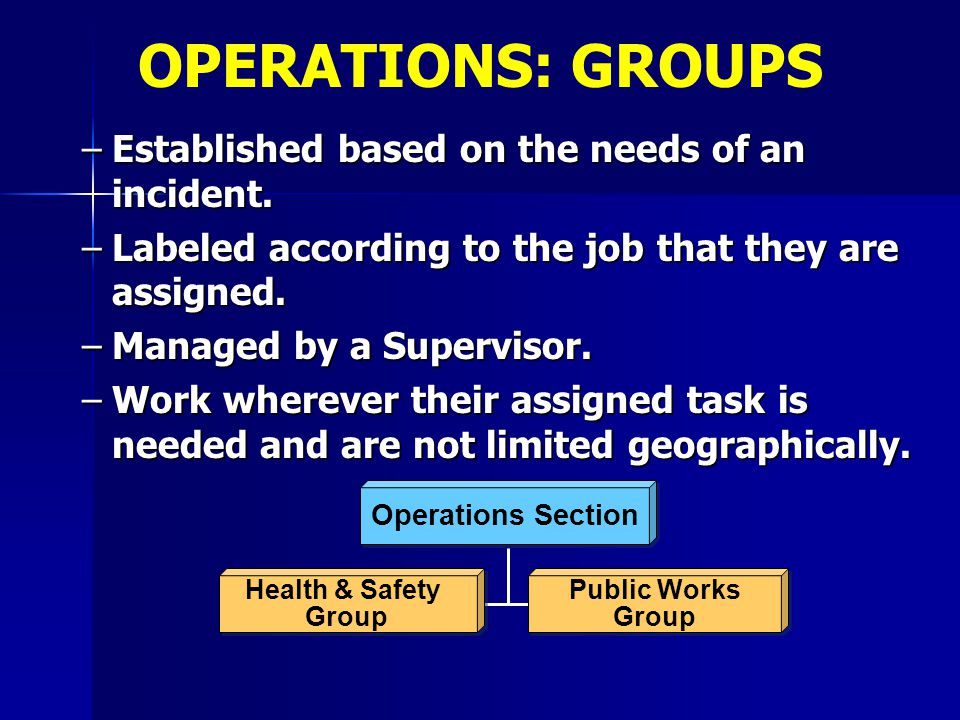 OPERATIONS: GROUPS Established based on the needs of an incident.