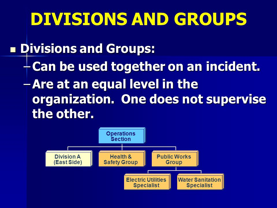 DIVISIONS AND GROUPS Divisions and Groups: