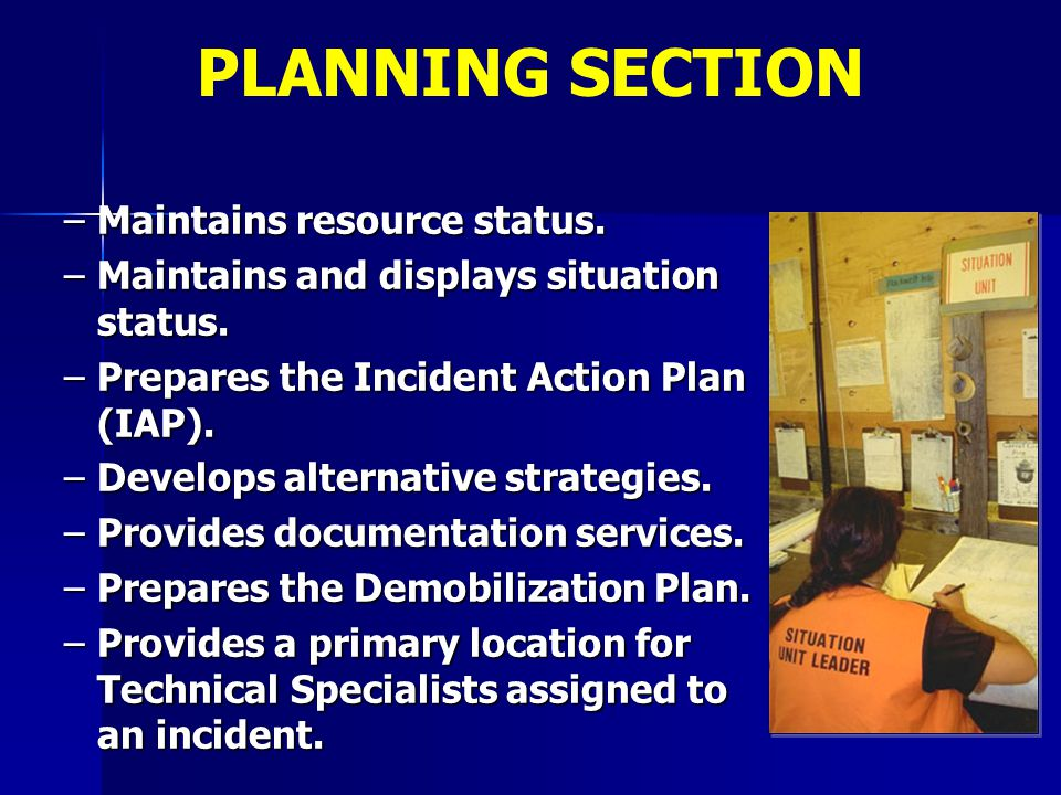 PLANNING SECTION Maintains resource status.