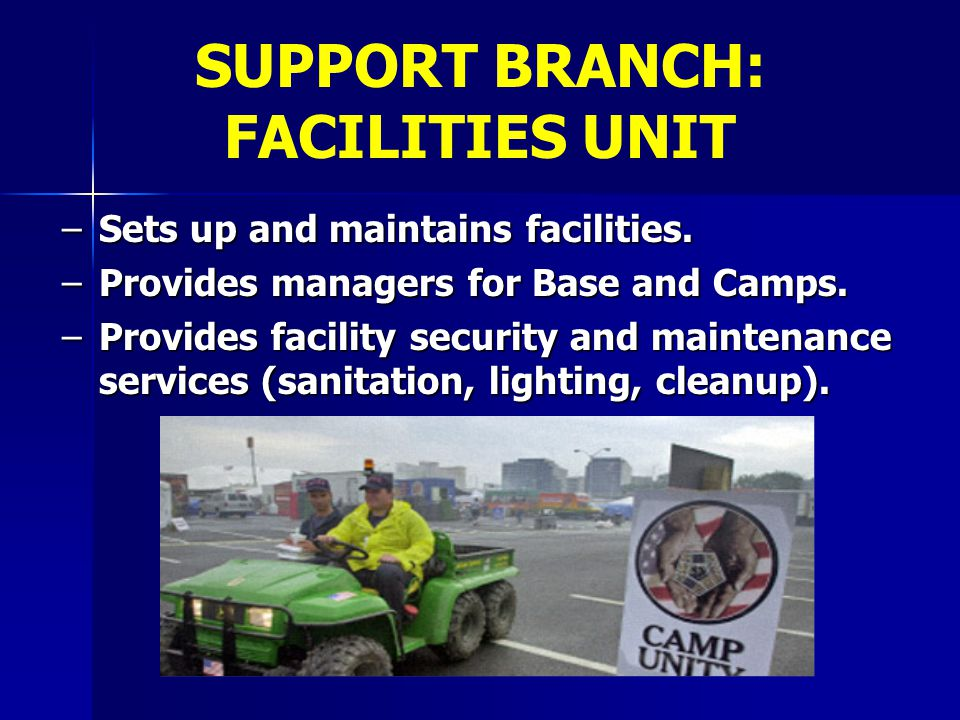 SUPPORT BRANCH: FACILITIES UNIT