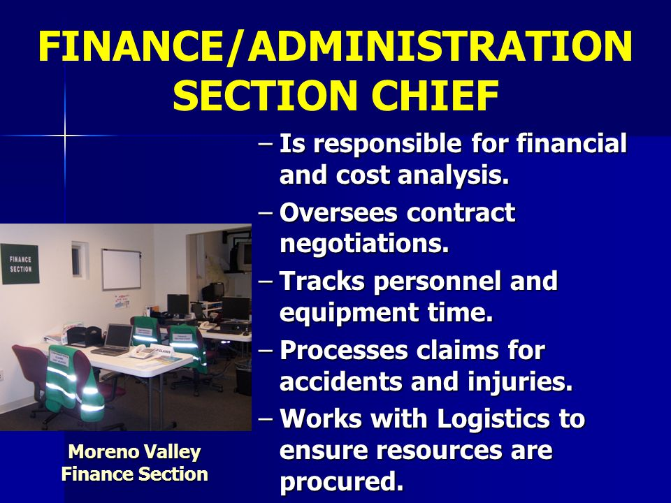 FINANCE/ADMINISTRATION SECTION CHIEF