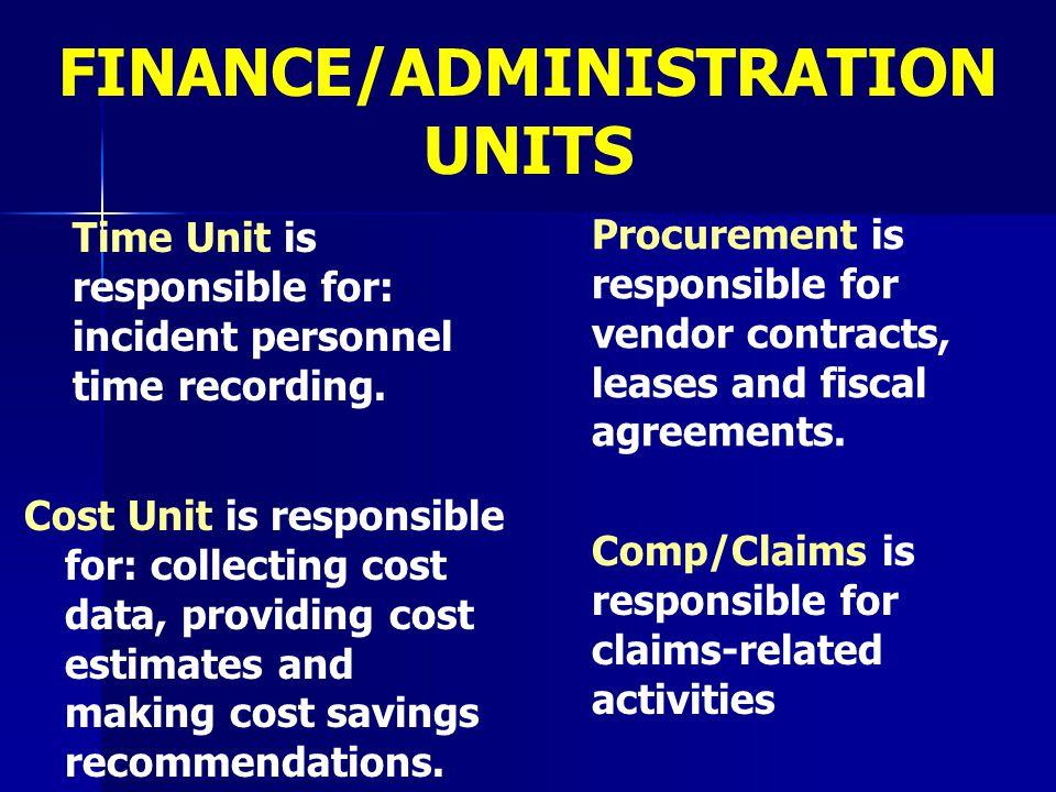 FINANCE/ADMINISTRATION UNITS