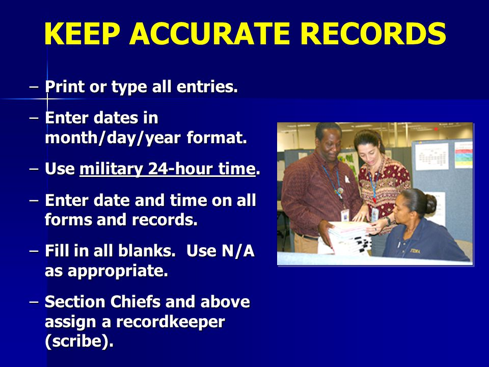 KEEP ACCURATE RECORDS Print or type all entries.