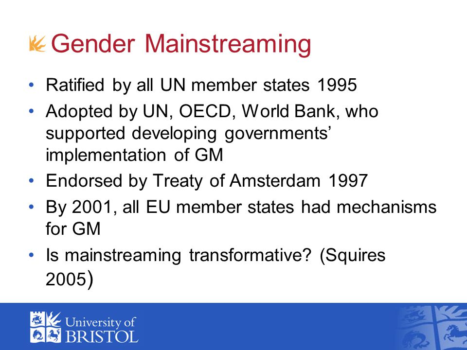 Gender Mainstreaming Ratified by all UN member states 1995
