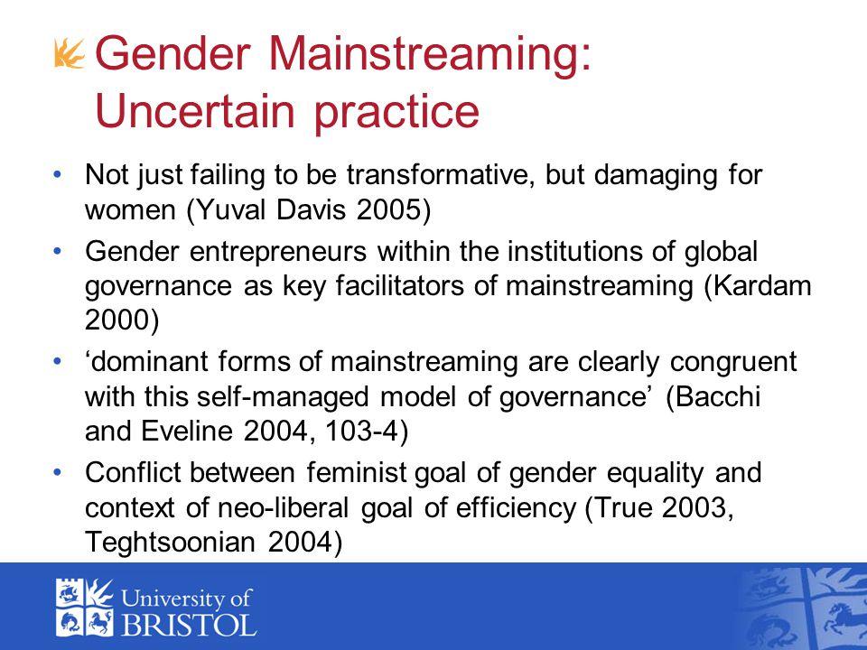 Gender Mainstreaming: Uncertain practice
