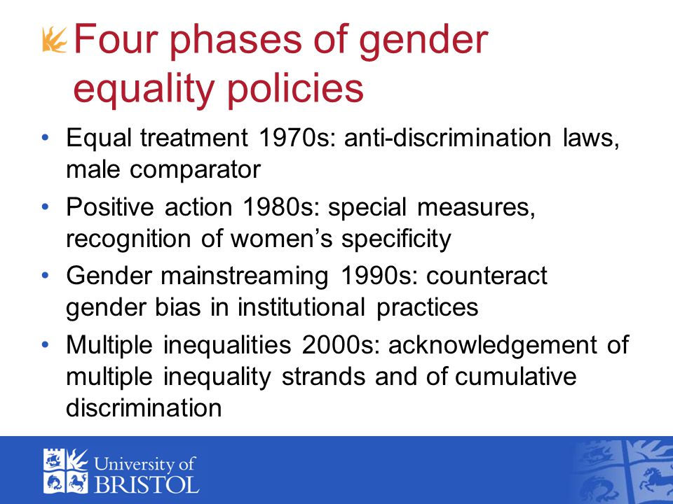 Four phases of gender equality policies