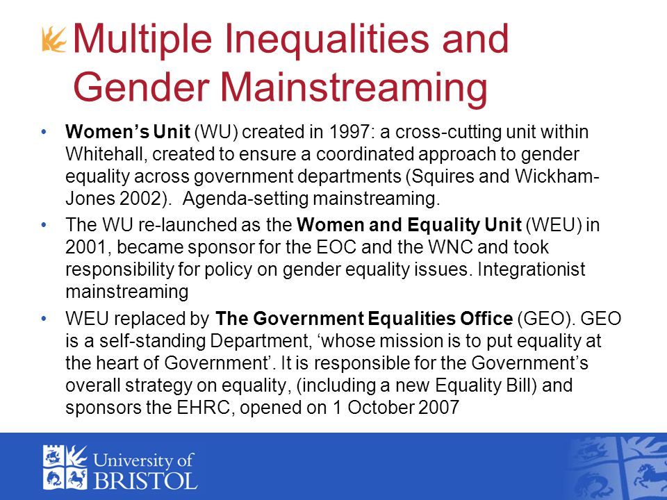 Multiple Inequalities and Gender Mainstreaming
