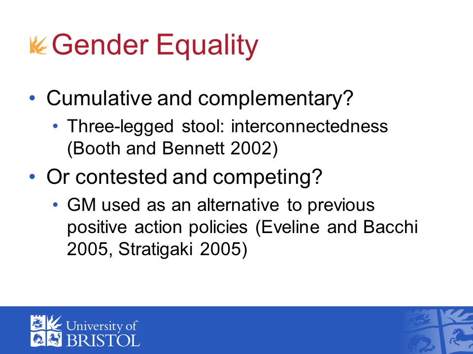 Gender Equality Cumulative and complementary