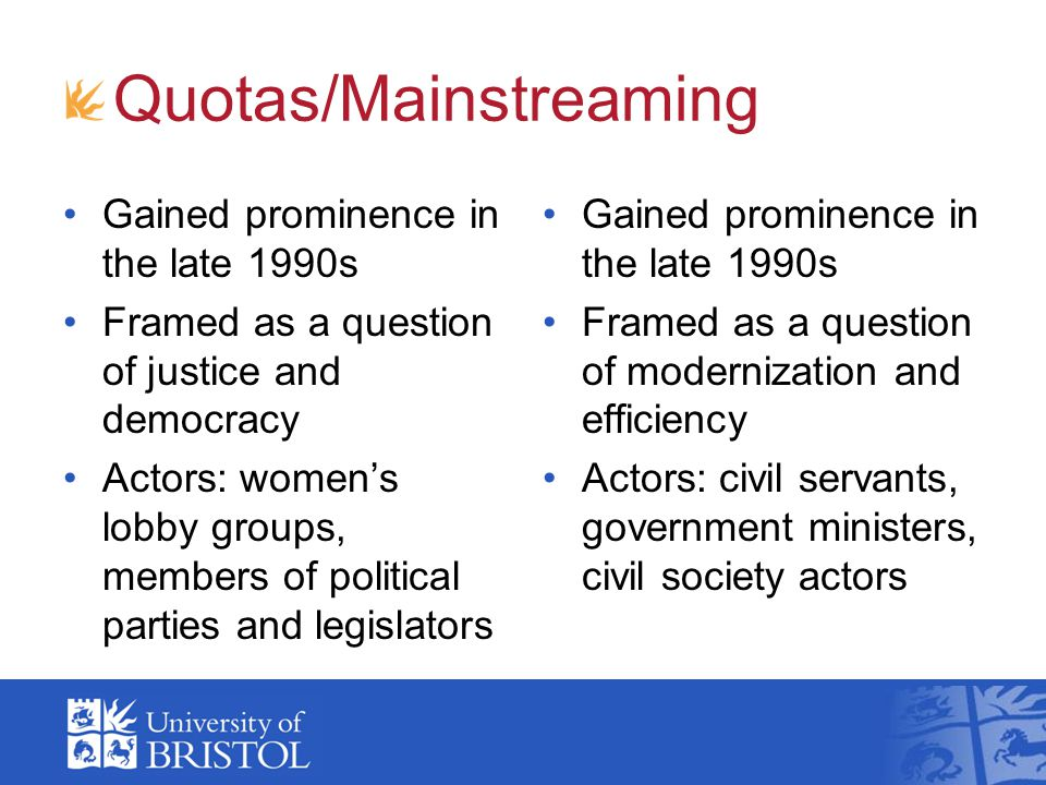 Quotas/Mainstreaming