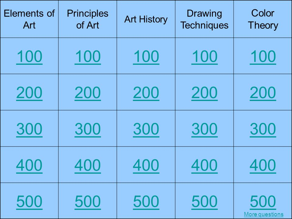 100 200 300 400 500 Color Theory Elements of Art Principles of Art