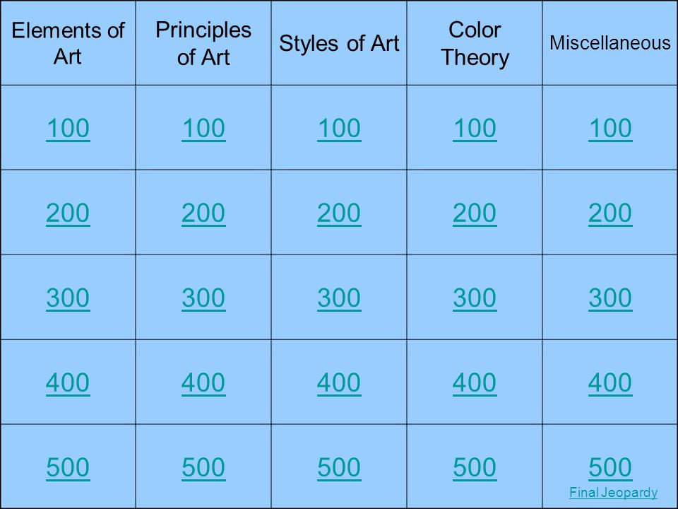 100 200 300 400 500 Principles of Art Styles of Art Color Theory