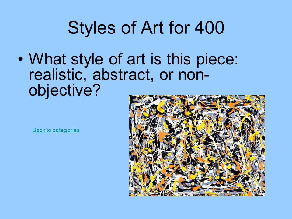Styles of Art for 400 What style of art is this piece: realistic, abstract, or non-objective.
