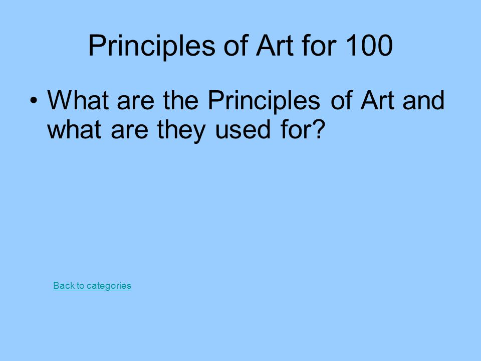 8 Principles Of Art : Ms stephenson s jeopardy ppt video online download