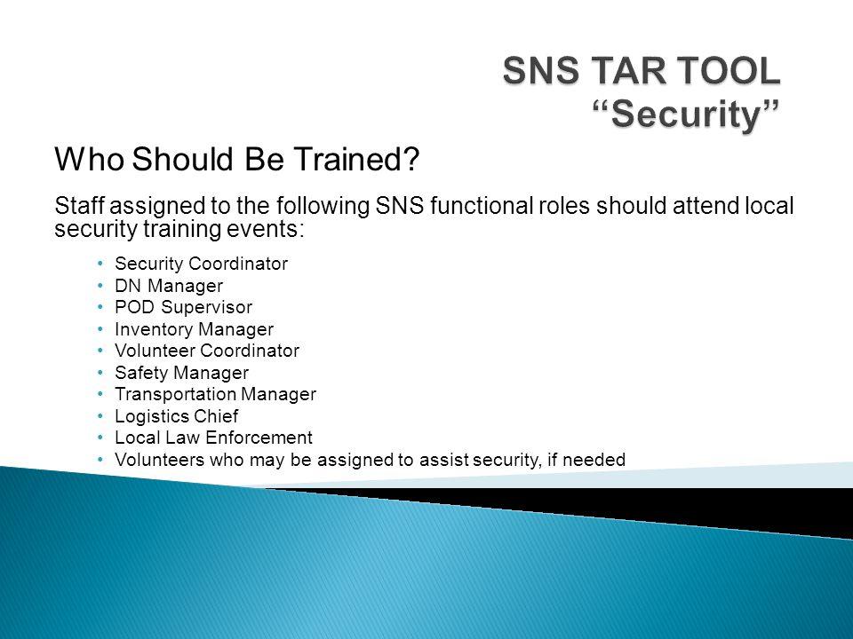 SNS TAR TOOL Security