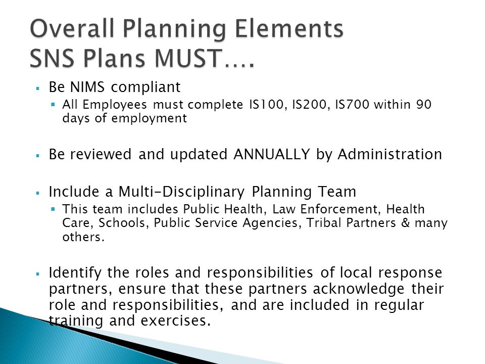Overall Planning Elements SNS Plans MUST….