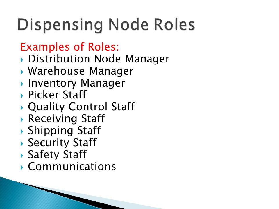 Dispensing Node Roles Examples of Roles: Distribution Node Manager