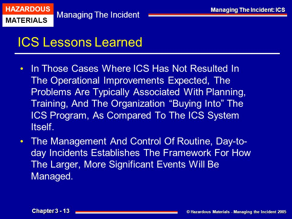ICS Lessons Learned