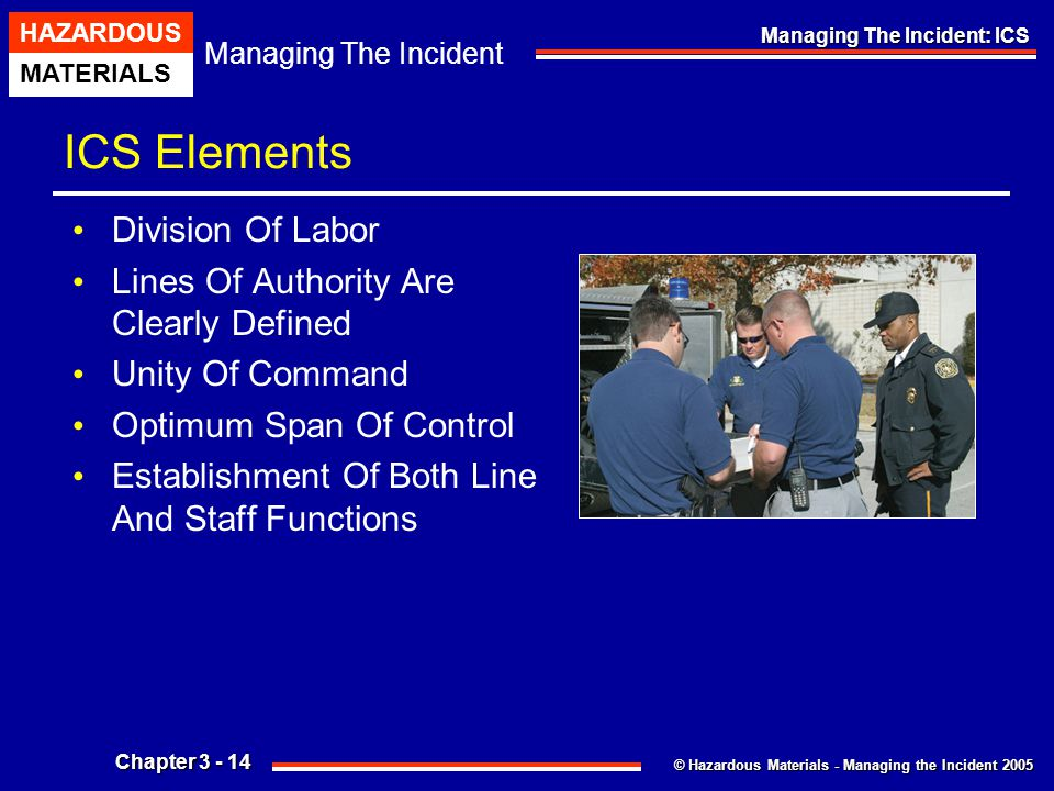 ICS Elements Division Of Labor Lines Of Authority Are Clearly Defined