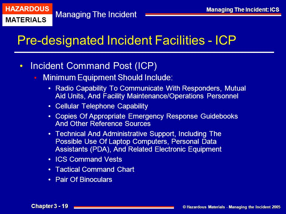Pre-designated Incident Facilities - ICP