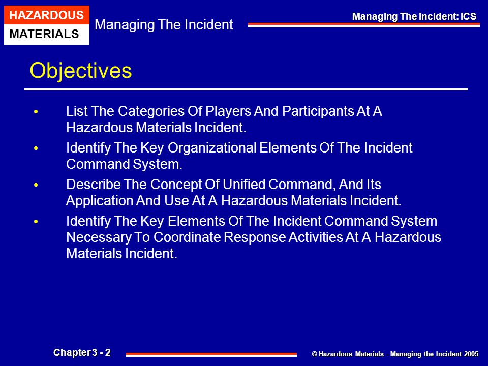 Objectives List The Categories Of Players And Participants At A Hazardous Materials Incident.